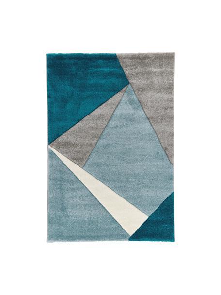 Vloerkleed My Broadway met geometrisch patroon in beige-blauw, Bovenzijde: 100% polypropyleen, Onderzijde: jute, Blauwtinten, beige, crèmekleurig, B 160 x L 230 cm (maat M)