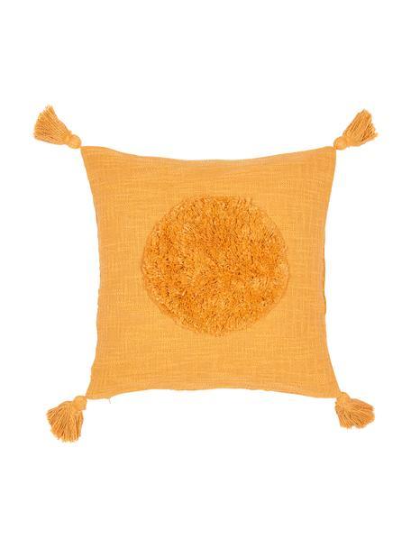 Grob gewebte Kissenhülle Sun aus Bio-Baumwolle mit Tasseln, 100% Bio-Baumwolle, Gelb, 45 x 45 cm