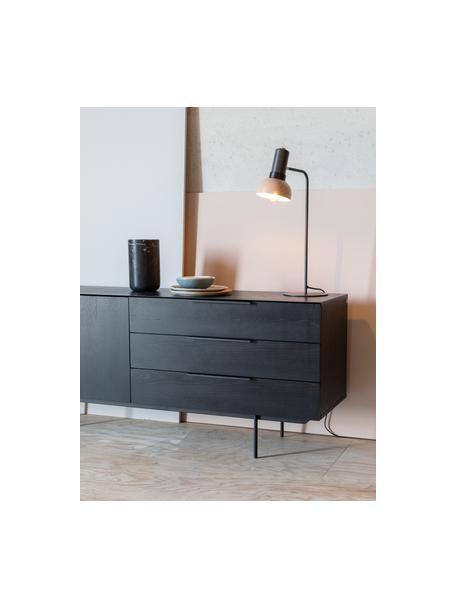 Lámpara de mesa grande Charlie, Pantalla: metal recubierto, Cable: cubierto en tela, Gris, rosa, An 21 x Al 63 cm