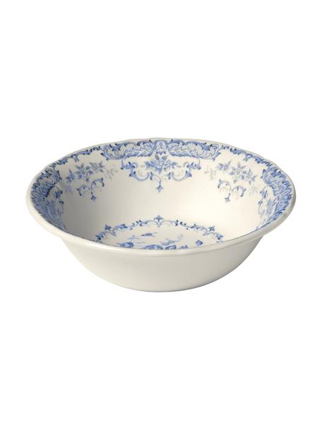 Salatschale Rose mit Blumenmuster in Weiß/Blau, Ø 24 cm, Keramik, Weiß, Blau, Ø 24 x H 8 cm