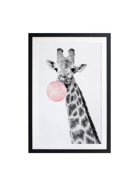 Ingelijste digitale print Giraffe, Lijst: gelakt hout, Zwart, wit, roze, 45 x 65 cm