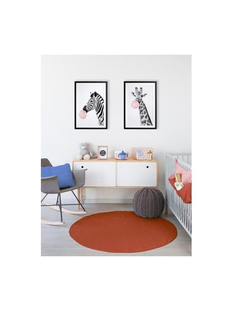 Ingelijste digitale print Giraffe, Lijst: gelakt hout, Zwart, wit, roze, 40 x 60 cm