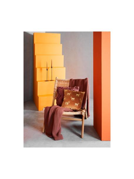 Geborduurde fluwelen kussenhoes Legong in oranje/goudkleur, 100% polyester fluweel, Oranje, goudkleurig, 40 x 40 cm