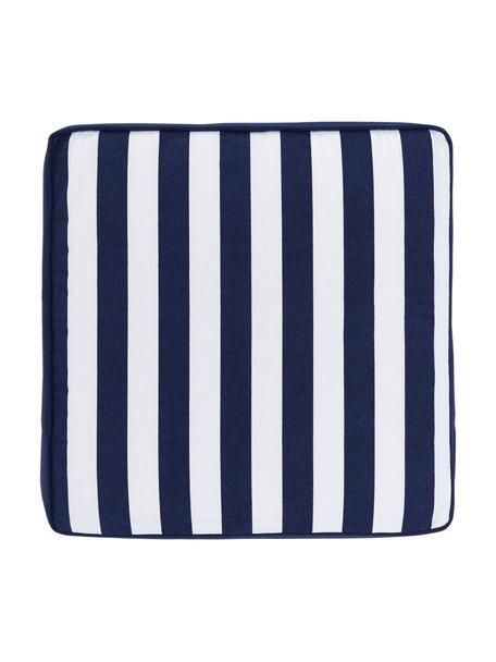 Hohes Sitzkissen Timon in Dunkelblau/Weiß, gestreift, Bezug: 100% Baumwolle, Blau, 40 x 40 cm