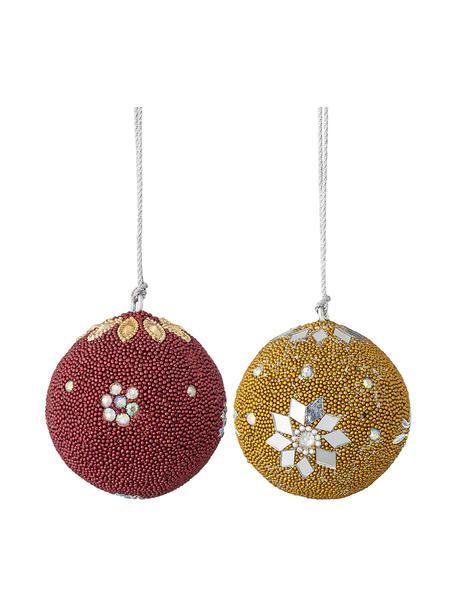 Kerstballen Tefa Ø 7 cm, 2 stuks, Rood, geel, Ø 7 cm