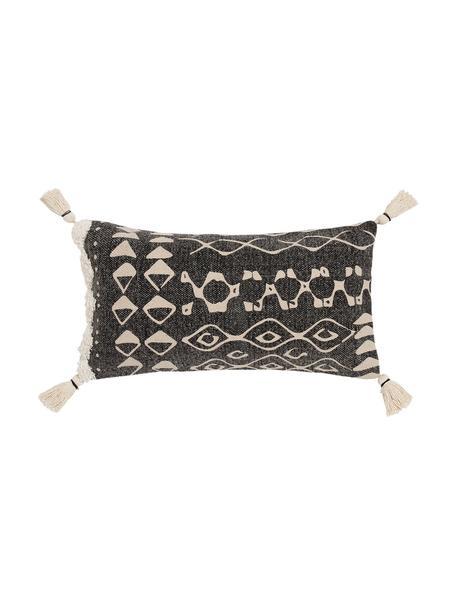 Boho kussenhoes Boa met kwastjes, 100% katoen, Zwart, wit, 30 x 60 cm