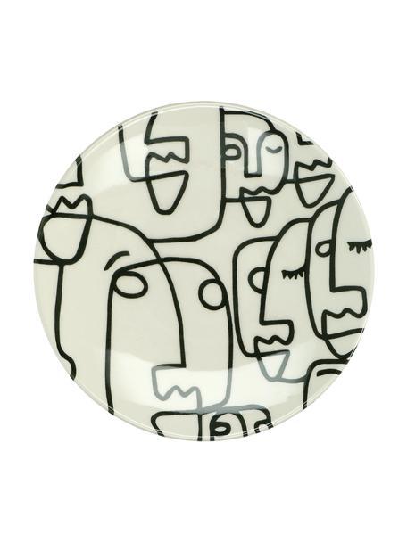 Dessertteller Modiglia mit One Line Zeichnung, 2 Stück, Steingut, Cremeweiss, Schwarz, Ø 16 cm