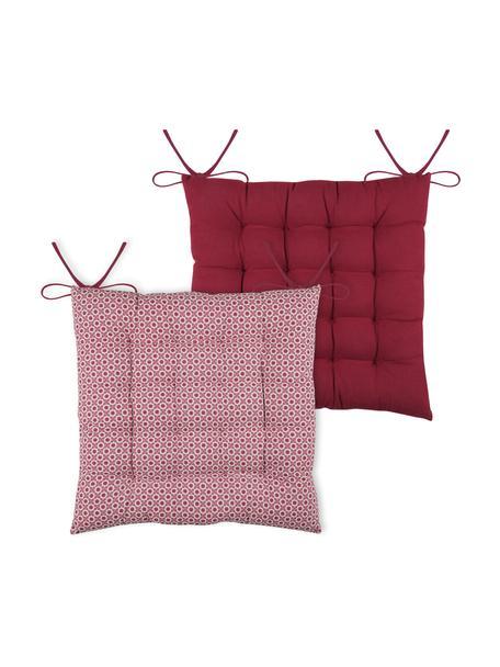 Dubbelzijdig zitkussen Galette in rood/wit, 100% katoen, Rood, wit, 40 x 40 cm