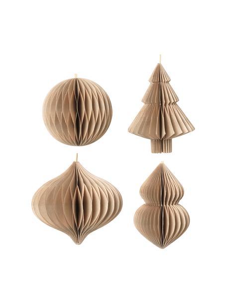 Set 4 ciondoli albero di Natale Viola, alt. 10 cm, Beige, Ø 9 x Alt. 10 cm