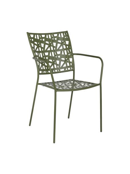 Sedia da giardino in metallo Kelsie, Acciaio verniciato, Verde, Larg. 55 x Alt. 54 cm