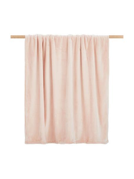 Zachte plaid Doudou in roze, 100% polyester, Roze, 130 x 160 cm