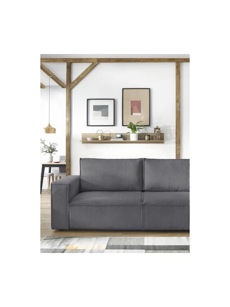Sofa rozkładana ze sztruksu z miejscem do przechowywania Nihad (3-osobowa), Tapicerka: sztruks poliestrowy, Nogi: tworzywo sztuczne, Ciemnyszary, S 245 x G 102 cm