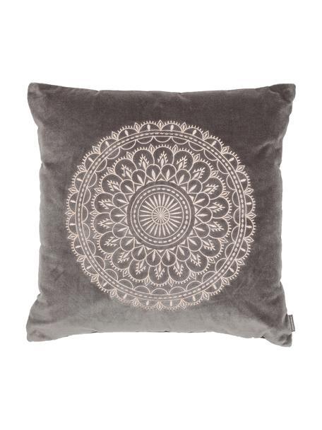 Haftowana poduszka z aksamitu z wypełnieniem Preston, Szary, odcienie kremowego, S 45 x D 45 cm