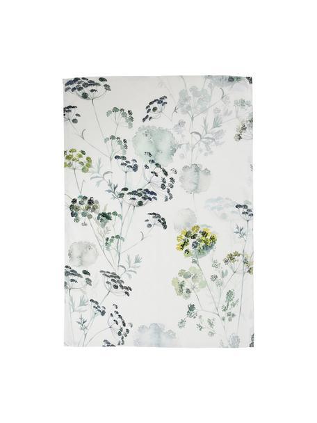 Katoenen theedoeken Herbier, 2 stuks, Katoen, Wit, groen, 50 x 70 cm