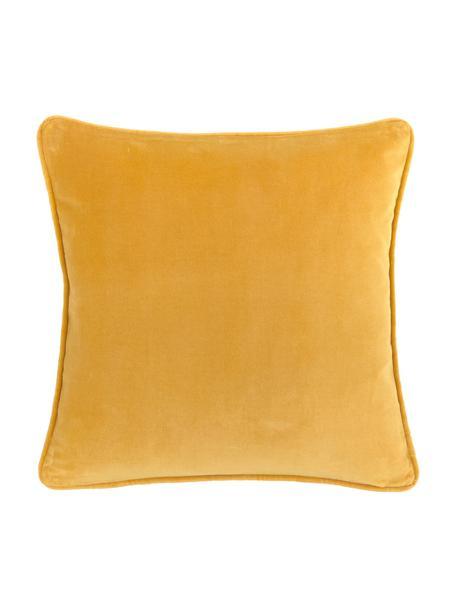 Federa arredo in velluto giallo ocra Dana, 100% velluto di cotone, Ocra, Larg. 40 x Lung. 40 cm