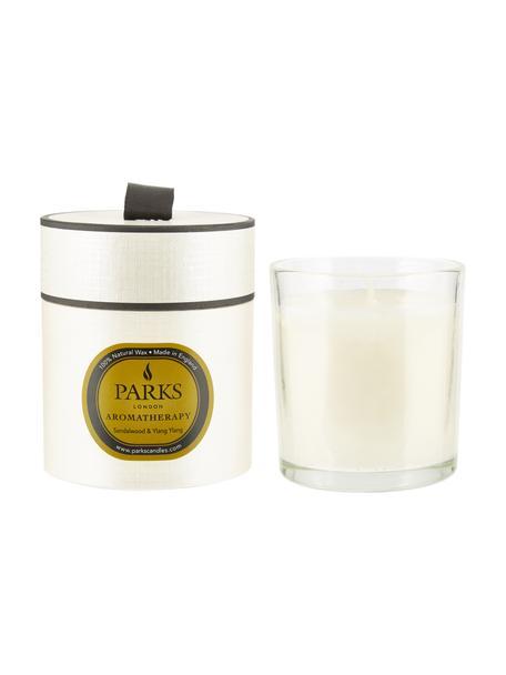 Geurkaars Aromatherapy (sandelhout & ylang ylang), Houder: glas, Wit, transparant, Ø 8 x H 9 cm