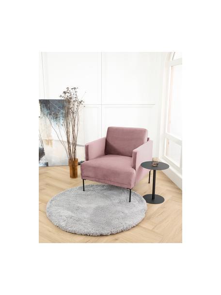 Fotel z aksamitu z metalowymi nogami Fluente, Tapicerka: aksamit (wysokiej jakości, Nogi: metal malowany proszkowo, Aksamitny blady różowy, S 74 x G 85 cm