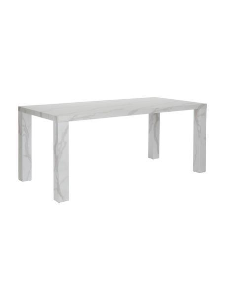 Mesa de comedor Carl, tablero en aspecto mármol, Tablero de fibras de densidad media(MDF), recubierto en melanina, Blanco veteado, brillante, An 180 x F 90 cm