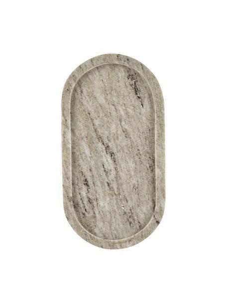 Decoratief dienblad Oval van marmer in beige, Marmer, Beige, 15 x 28 cm