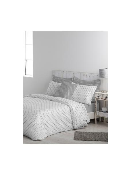 Funda nórdica doble cara Febo, Algodón El algodón da una sensación agradable y suave en la piel, absorbe bien la humedad y es adecuado para personas alérgicas, Blanco, gris, Cama 90 cm (160 x 220 cm)