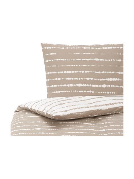 Dwustronna pościel z organicznego perkalu Remi, Beżowy, biały, 135 x 200 cm + 1 poduszka 80 x 80 cm