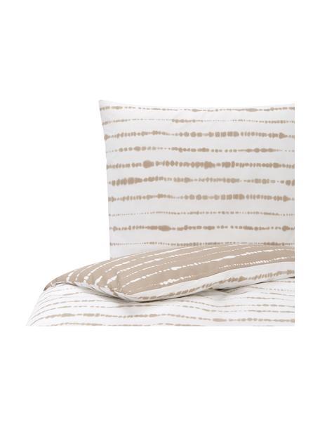Dwustronna pościel z organicznego perkalu z wzorem tie-dye Remi, Beżowy, biały, 135 x 200 cm + 1 poduszka 80 x 80 cm