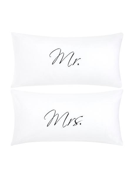 Baumwollperkal-Kopfkissenbezüge Mr&Mrs mit Schriftzug, 2er-Set, Webart: Perkal Fadendichte 180 TC, Weiß, Schwarz, 40 x 80 cm