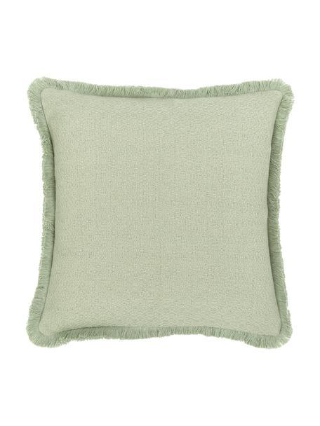 Poszewka na poduszkę z frędzlami Lorel, 100% bawełna, Zielony, S 40 x D 40 cm
