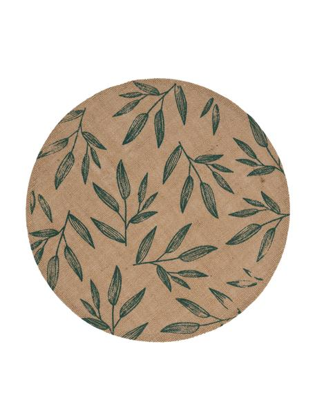Jute-Tischset Pep mit Blattmotiven, 2 Stück, Jute, Beige, Grün, 40 x 40 cm