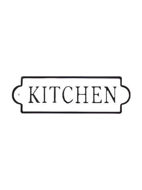 Znak dekoracyjny Kitchen, Metal pokryty folią z motywem, Biały, czarny, S 26 x W 8 cm