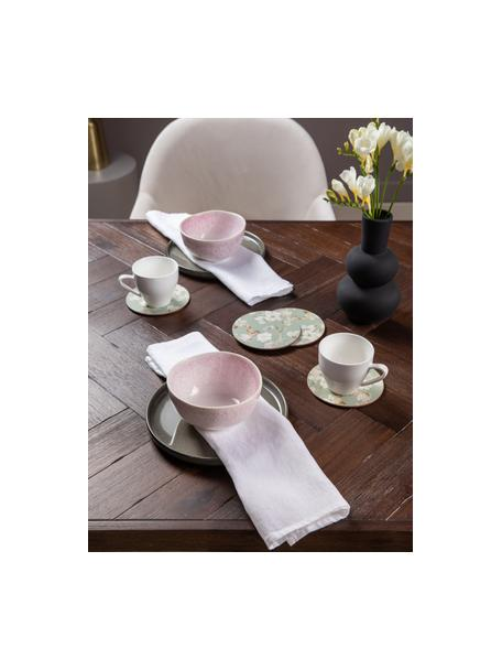 Set van 2 handgemaakte kommen Amalia met effectief glazuur, Keramiek, Lichtroze, crèmewit, Ø 14 x H 7 cm