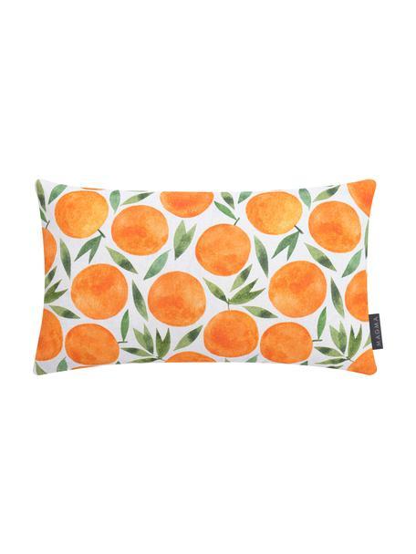 Kissenhülle Orange mit sommerlichem Motiv, Webart: Halbpanama, Orange, Weiß, Grün, 30 x 50 cm