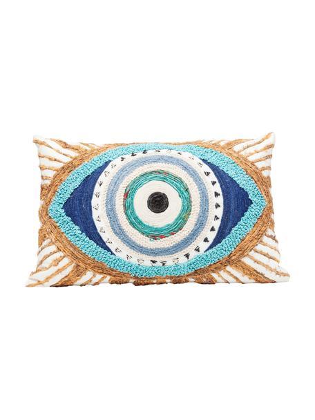 Haftowana poduszka z wypełnieniem Ethno Eye, Biały, beżowy, niebieski, S 35 x D 55 cm