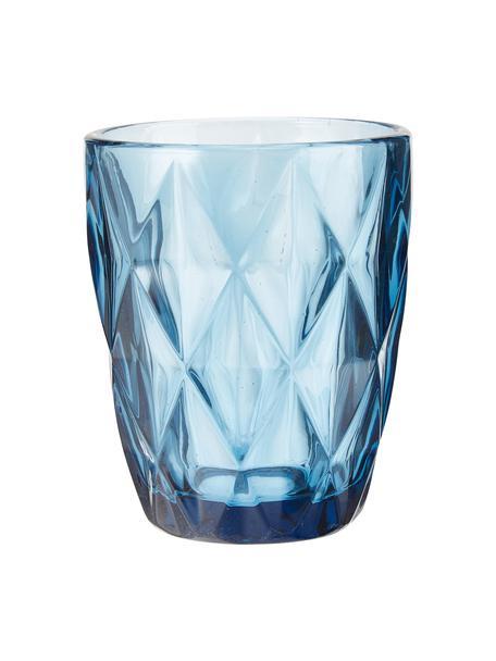 Waterglazen Colorado met structuurpatroon, 4 stuks, Glas, Blauw, transparant, Ø 8 x H 10 cm