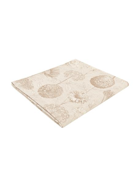 Katoenen tafelkleed Freya met bloemen motief, 86% linnen, 14% katoen, Beige, bruin, Voor 4 - 6 personen (B 145 x L 200 cm)