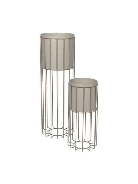 Übertopf-Set Fenja aus Metall, 2-tlg., Metall, beschichtet, Grau, Set mit verschiedenen Grössen