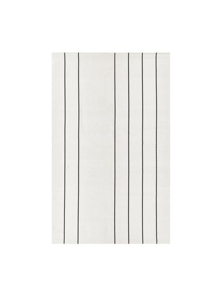 Flachgewebter Baumwollteppich David mit Linien, handgefertigt, 100% Baumwolle, Cremeweiss, Schwarz, B 50 x L 80 cm (Grösse XXS)