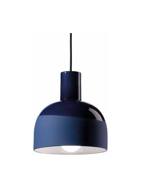 Lámpara de techo pequeña de cerámica Caxixi, Pantalla: cerámica, Anclaje: cerámica, Cable: cubierto en tela, Azul, Ø 22 x Al 27 cm