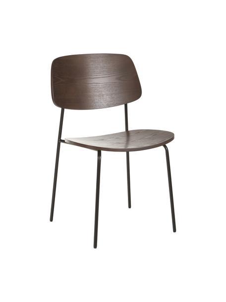 Houten stoelen Nadja, 2 stuks, Zitvlak: multiplex met essenhoutfi, Poten: gepoedercoat metaal, Donker essenhoutfineer, 50 x 53 cm