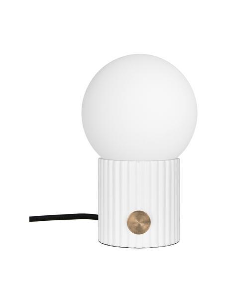 Kleine Dimmbare Nachttischlampe Hubble, Lampenschirm: Opalglas, Lampenfuß: Polyresin, Schalter: Metall, Weiß, Ø 15 x H 24 cm