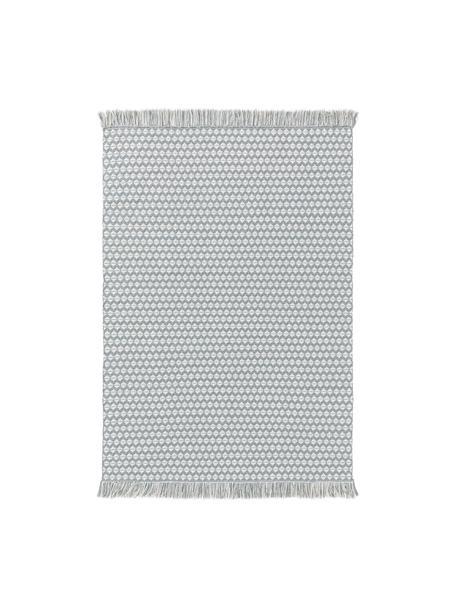 In- & outdoor vloerkleed Morty met ethnopatroon en franjes, 100% polyester (gerecycled PET), Blauw, gebroken wit, B 80 x L 150 cm (maat XS)