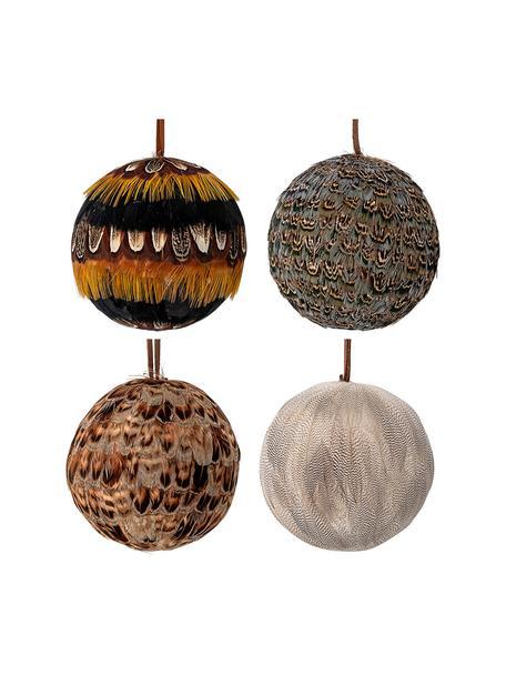 Kerstballenset Feather Ø9cm, 4-delig, Piepschuim, veren, Multicolour, Ø 9 cm