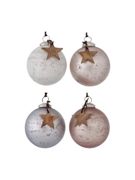 Weihnachtskugeln Calada Ø 10 cm, 4 Stück, Weiß, Rosa, Lila, Ø 10 cm