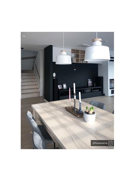 Lámpara de techo Malm, estilo escandinavo, Pantalla: metal, Anclaje: metal, Cable: cubierto en tela, Blanco, Ø 30 x Al 26 cm
