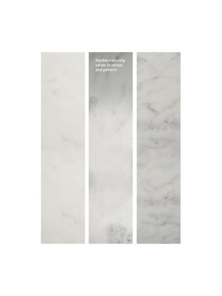 Mesa auxiliar redonda de mármol Alys, Tablero: mármol natural, Estructura: metal con pintura en polv, Mármol blanco grisáceo, plateado, Ø 40 x Al 50 cm
