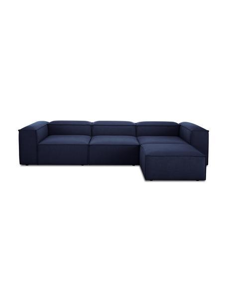 Sofa modułowa z pufem Lennon (4-osobowa), Tapicerka: 100% poliester Dzięki tka, Stelaż: lite drewno sosnowe, skle, Nogi: tworzywo sztuczne Nogi zn, Niebieski, S 327 x G 207 cm