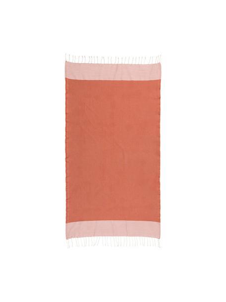 Telo fouta in cotone Ibiza, 100% cotone, Qualità molto leggera, 200 g/m², Terracotta, bianco, Larg. 100 x Lung. 200 cm