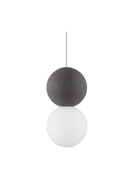 Kleine hanglamp Zero van opaalglas, Lampenkap: terrazzo, opaalglas, Baldakijn: gecoat aluminium, Wit, grijs, Ø 10  x H 20 cm