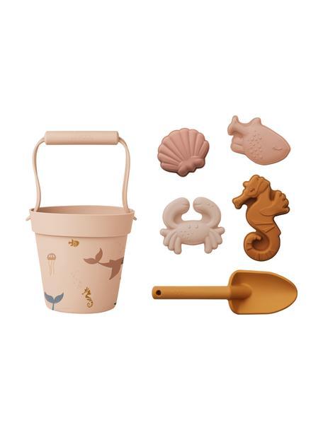 Komplet do zabawy na plaży Dante, 6 elem., 100% silikon, Blady różowy, wielobarwny, Komplet z różnymi rozmiarami