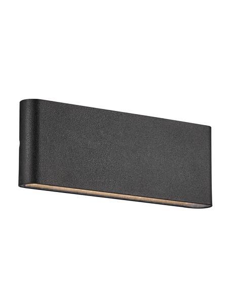 Aplique LED para exterior Kinver, Lámpara: aluminio recubierto, Negro, An 26 x Al 9 cm
